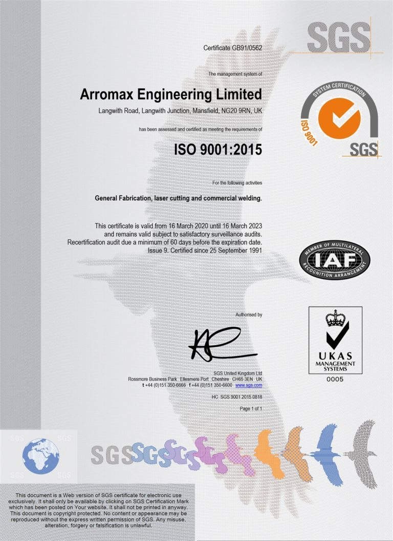 ISO90012015 Arromax Engineering